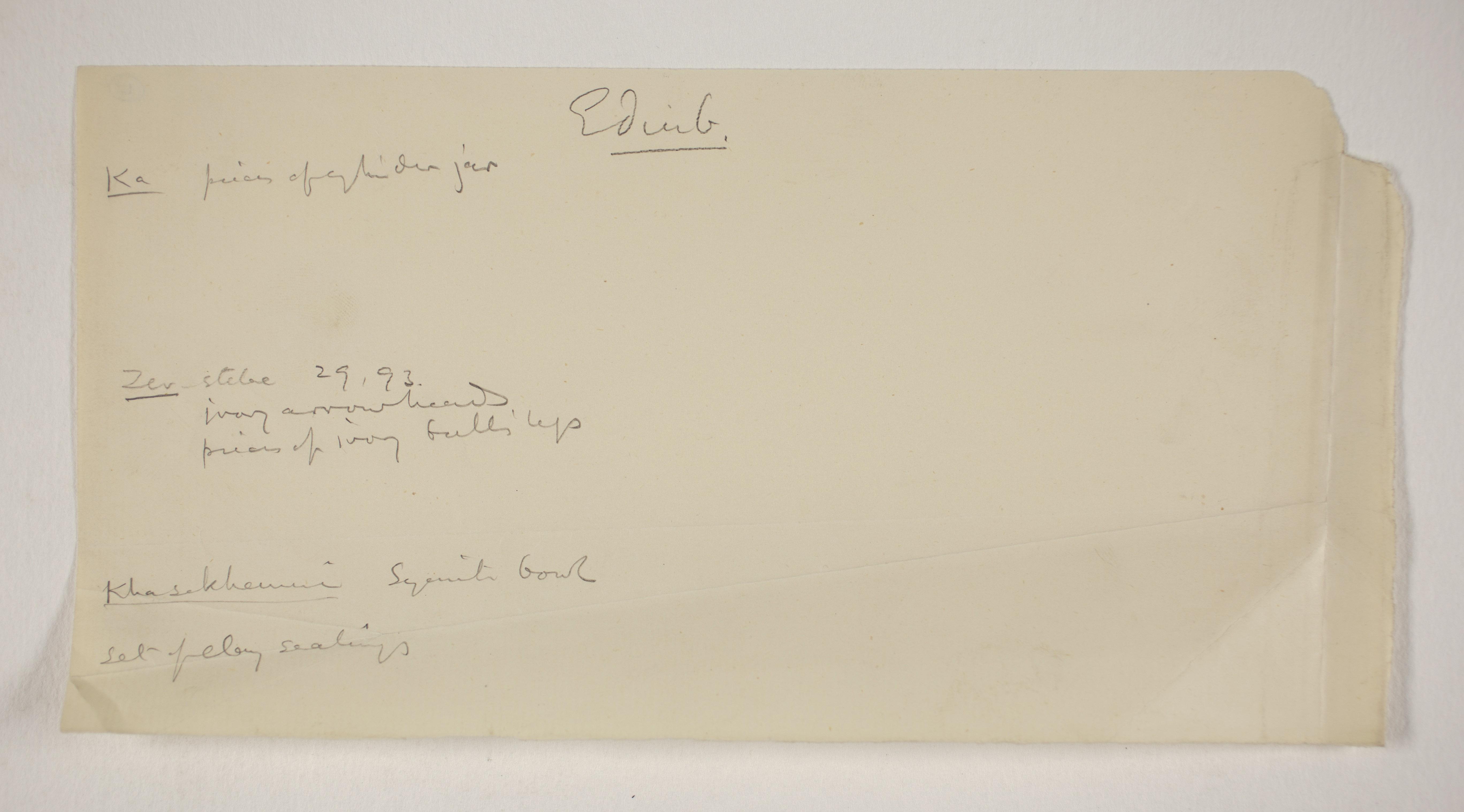 1900-01 Abydos, Bet Khallaf, el-Mahasna Individual institution list  PMA/WFP1/D/9/17