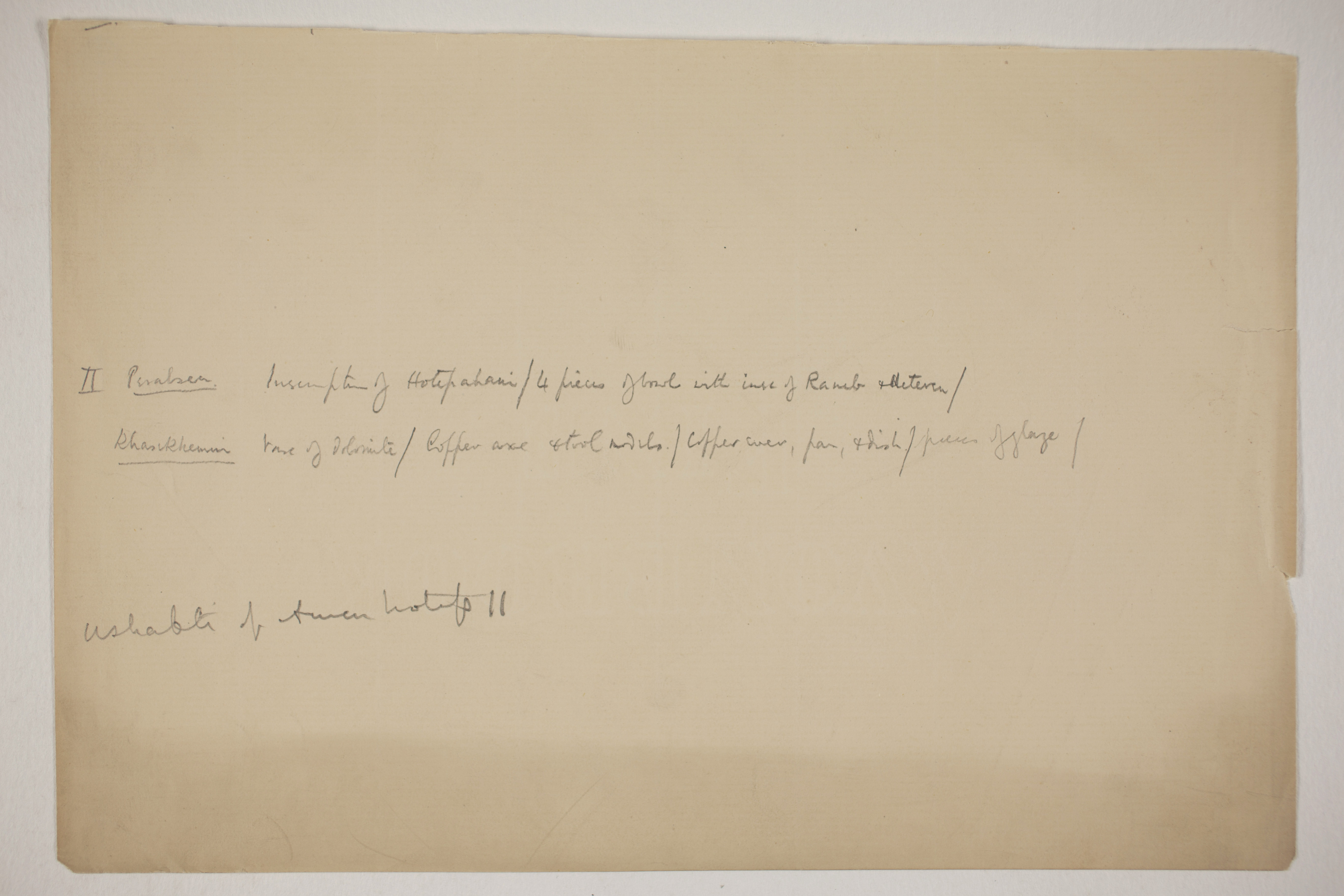 1900-01 Abydos, Bet Khallaf, el-Mahasna Individual institution list  PMA/WFP1/D/9/19.2