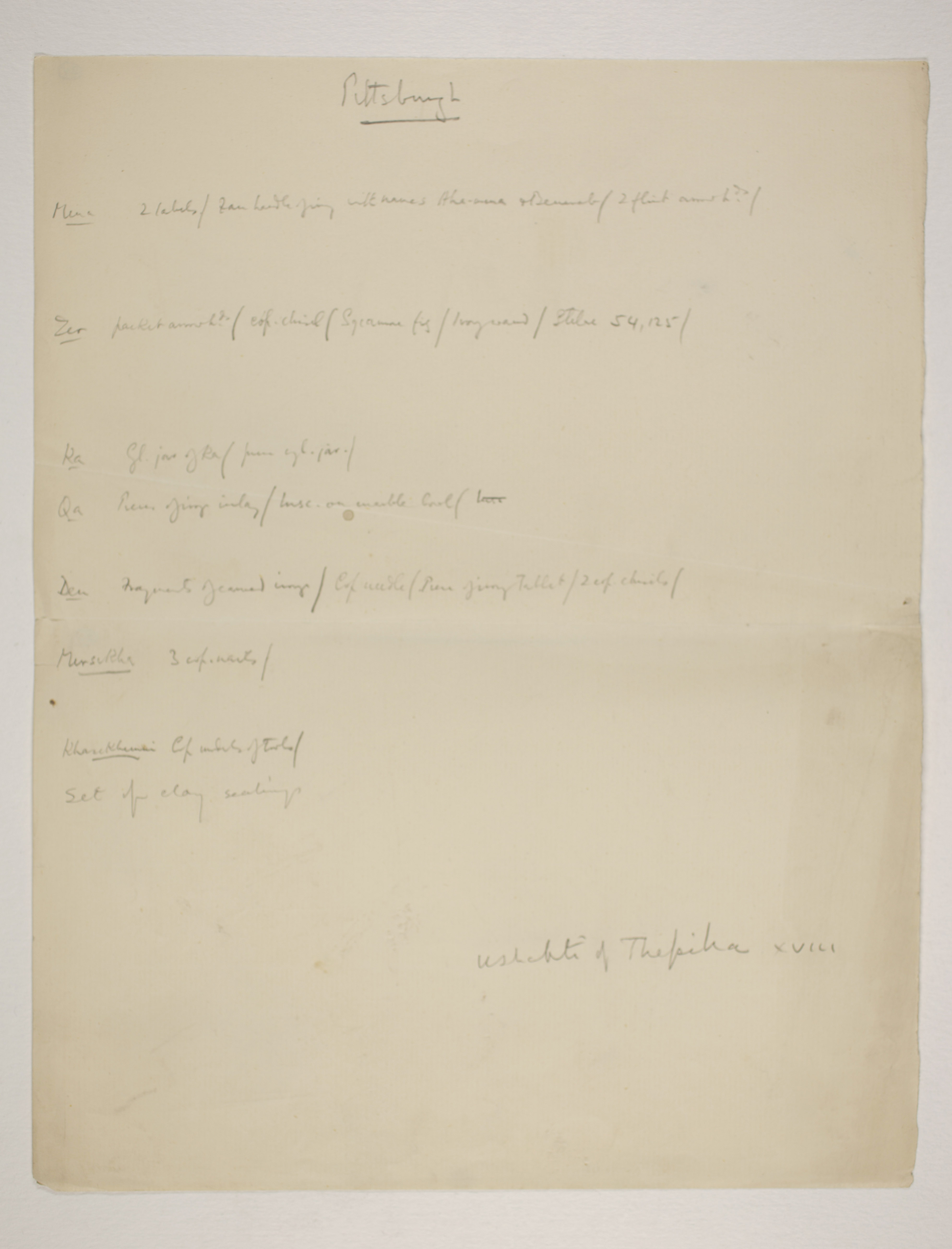 Abydos, Bet Khallaf, el-Mahasna 1900-1901, Individual Institution List, PMA/WFP1/D/9/24