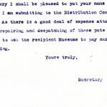 1922-76 Miscellaneous correspondence with museums DIST.41.39b