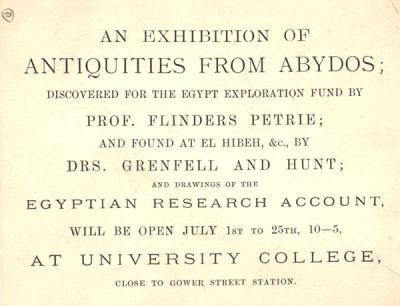 Exhibition invitation card for display of finds from excavations at Abydos and drawings made by the ERA.