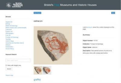 Bristol Museum's online catalogue entry for the ostracon from the EES