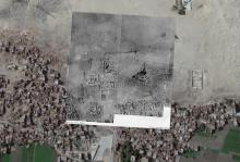 Aerial photograph showing the Temple and Cenotaph of Seti I at Abydos,   superimposed on a modern Google map image. Created by Kristian Brink, 2015.