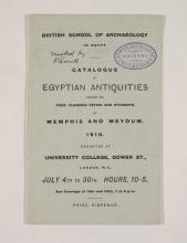 1909-10 Meidum, Memphis Exhibition catalogue PMA/WFP1/D/18/15.1