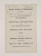 1909-10 Meidum, Memphis Exhibition catalogue PMA/WFP1/D/18/16.1