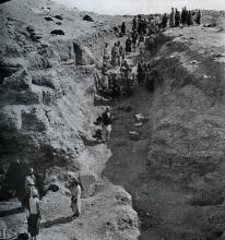 Photograph showing excavation of  tomb no. 300 at el-Riqqa, both during the works and afterwards. Engelbach 1915: plate II fig. 1.