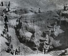 Photograph showing excavation of tomb no. 303 at el-Riqqa, both during the works and afterwards. Engelbach 1915: plate II fig. 3.