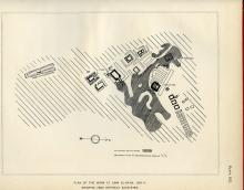 Sketch map showing the total excavated area at Umm el-Ga'ab between 1909-11. Naville et al. 1914: plate XXI.
