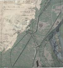 Original excavator's map of the archaeological features at Naqqada superimposed on a modern Google map image. Created by Bryony Smerdon, 2016.